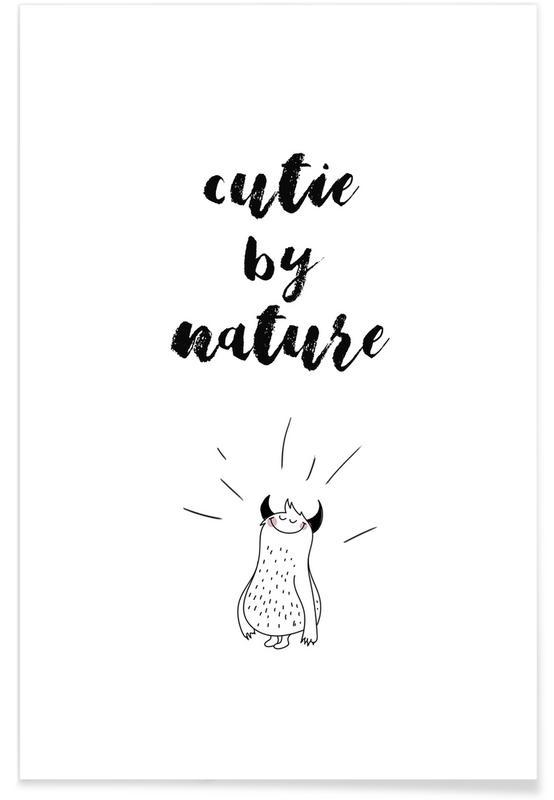 Art pour enfants, Noir & blanc, Citations et slogans, Anniversaires de mariage et amour, Cutie affiche