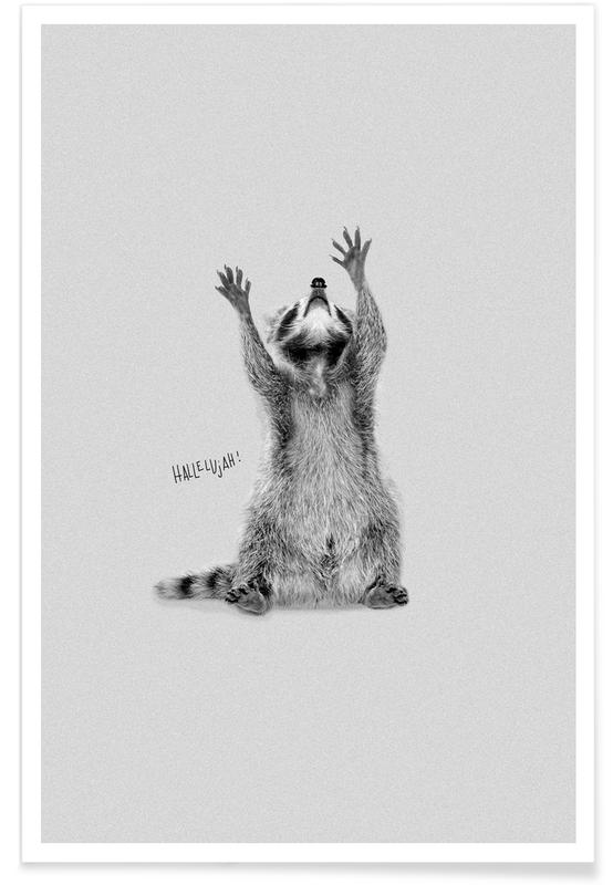 Congratulations, Weddings, Black & White, Racoon Poster