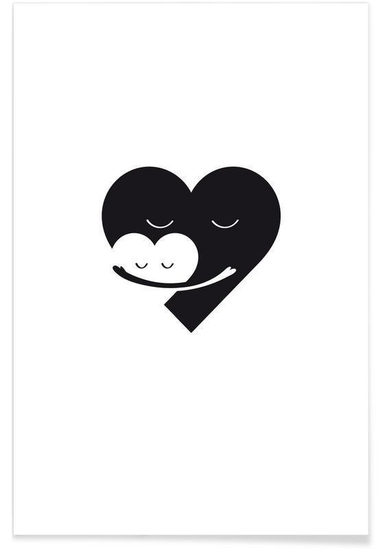 Hearts, Mother's Day, Black & White, Heart Hug Poster