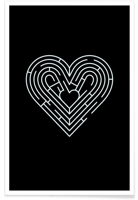 Cœurs, Noir & blanc, Saint-Valentin, Labyrinth affiche