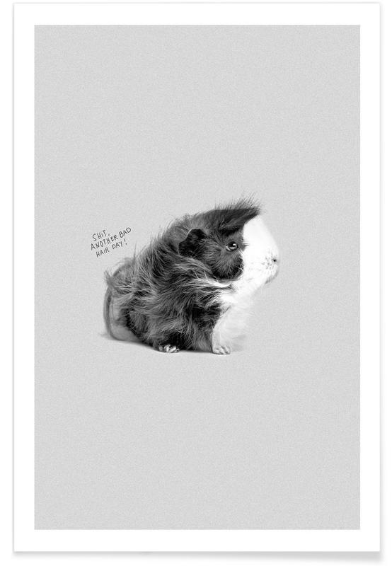 Black & White, Funny, Bad Hair Poster