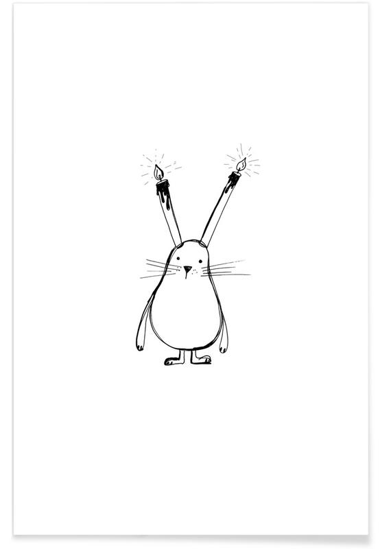 Geburtstage, Schwarz & Weiß, Kinderzimmer & Kunst für Kinder, B-Day Bunny -Poster
