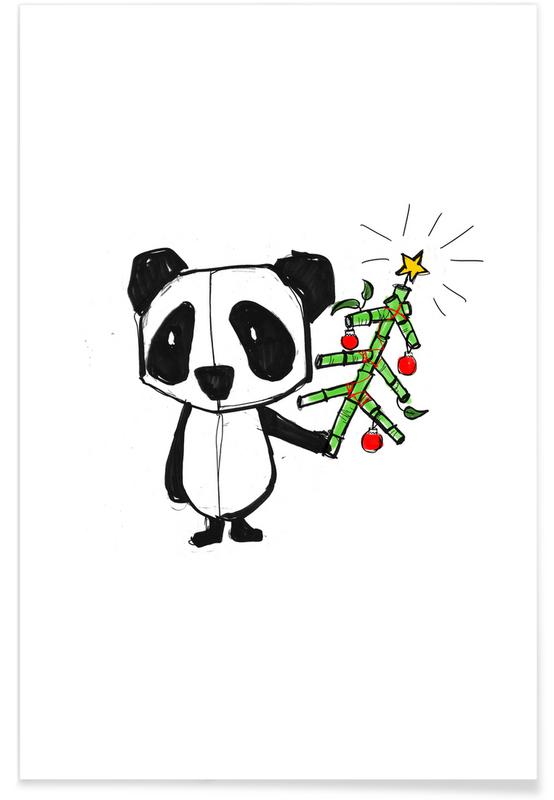 Art pour enfants, Ours, Noël, Panda affiche