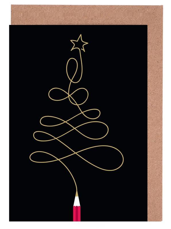 Weihnachten, Pencil Tree -Grußkarten-Set