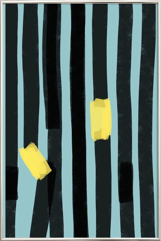 Black Stripes Poster in Aluminium Frame
