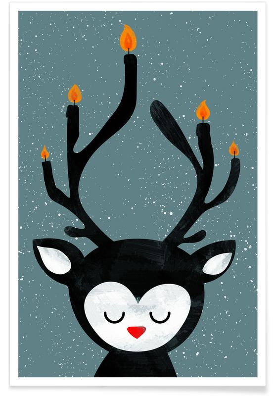 Nursery & Art for Kids, Christmas, Deer, Deer Candle Poster