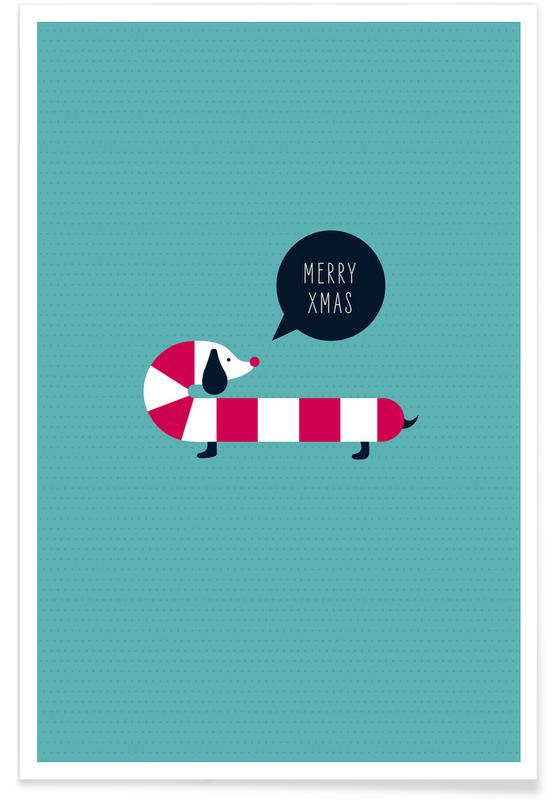 Christmas, Nursery & Art for Kids, Dog Candy Poster
