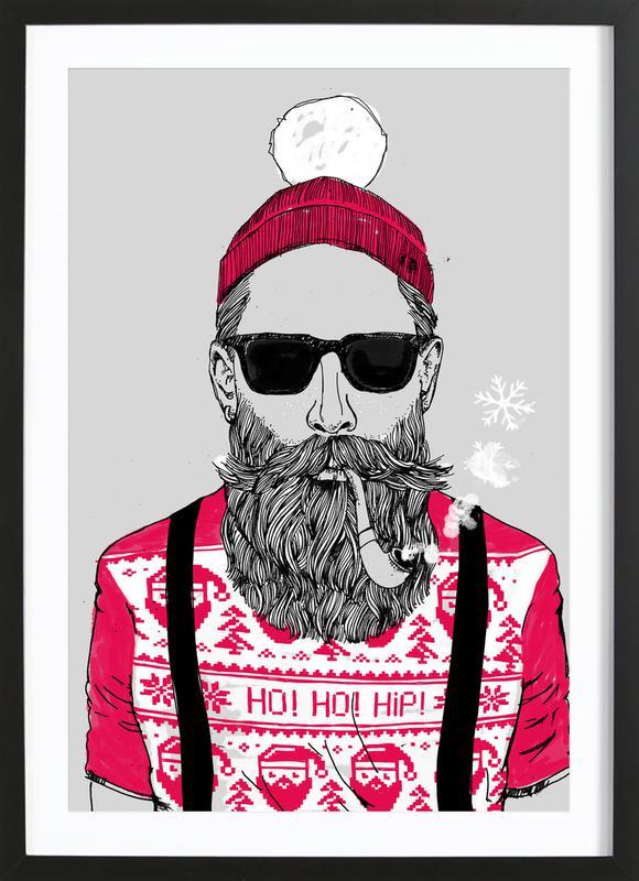 Ho Ho Hipster affiche sous cadre en bois