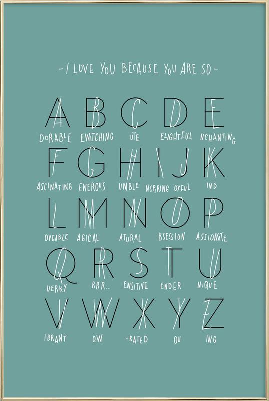 Alphabet of Love Poster in Aluminium Frame