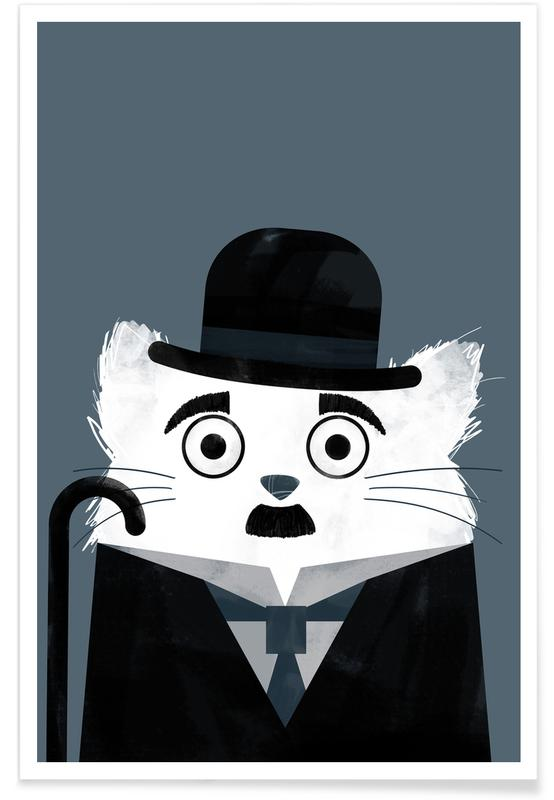 Katzen, Cat - Chaplin -Poster