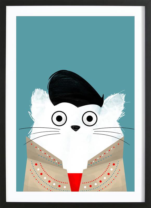 Cat - Elvis -Bild mit Holzrahmen