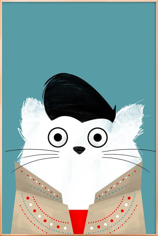 Cat - Elvis Poster in Aluminium Frame