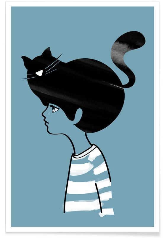 Noir & blanc, Chats, Cat Head affiche