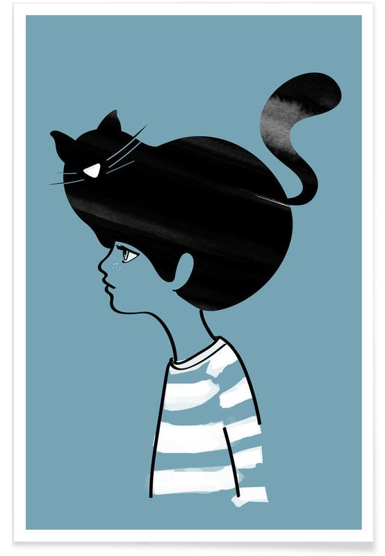 Sort & hvidt, Katte, Cat Head Plakat