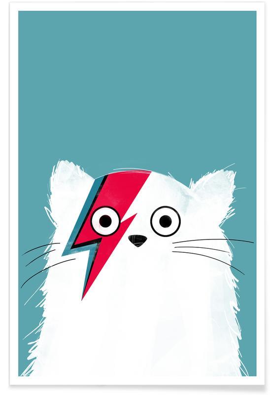 Katzen, David Bowie, Cat - Hero 3 -Poster