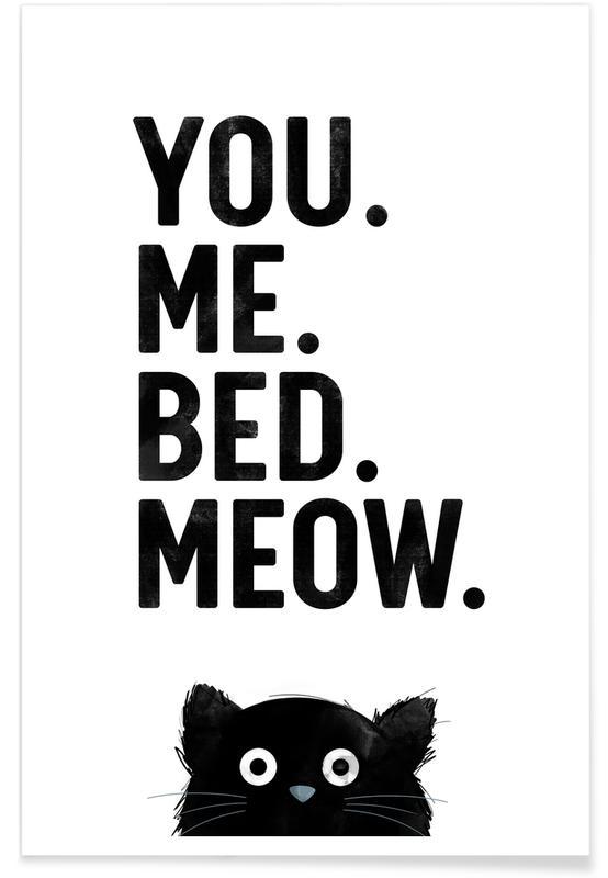 Black & White, Cat Meow White Poster