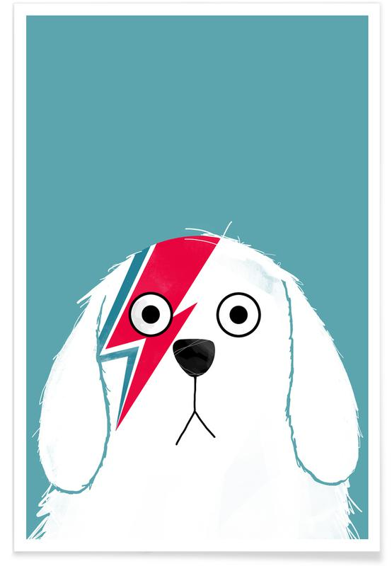 Hunde, David Bowie, Dog Bowie White -Poster