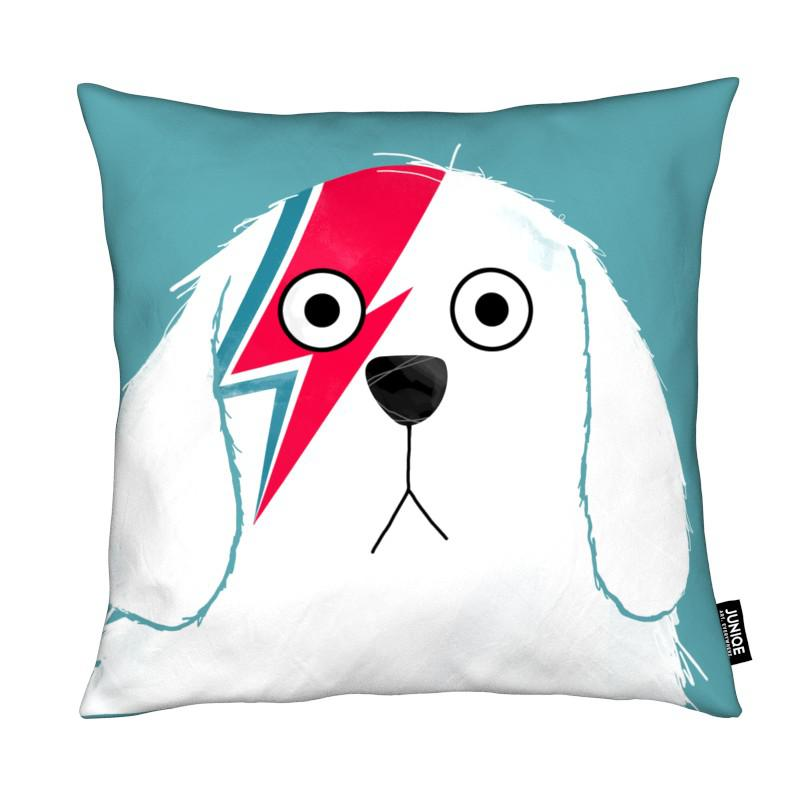 Chiens, David Bowie, Dog Bowie White coussin
