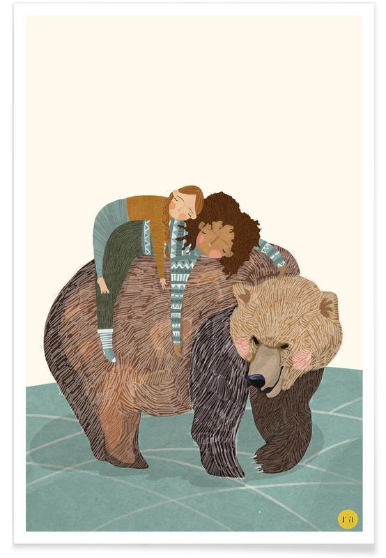 Ours, Art pour enfants, Nap affiche