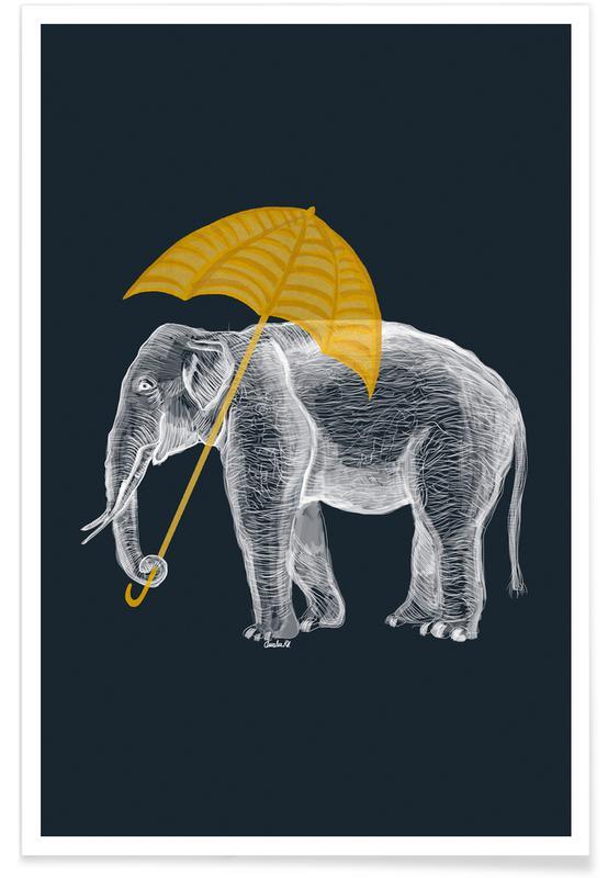 Art pour enfants, Éléphants, Rêve, Elephant with Umbrella 2 affiche