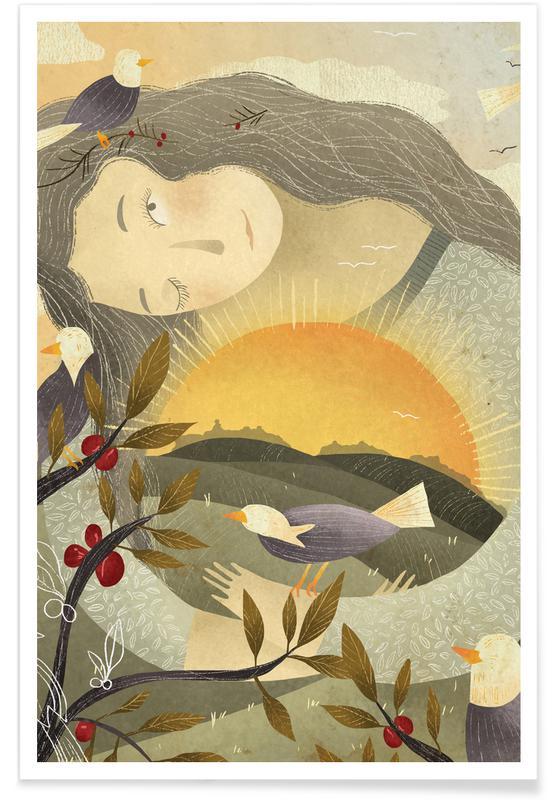 Rêve, Art pour enfants, Birds affiche