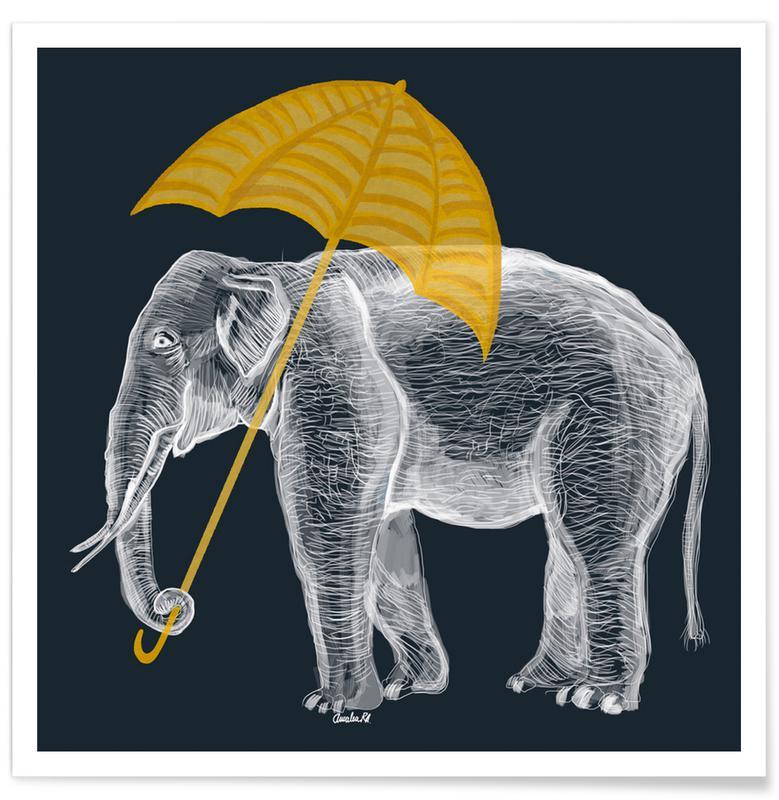 Elefanten, Kinderzimmer & Kunst für Kinder, Elephant with Umbrella -Poster