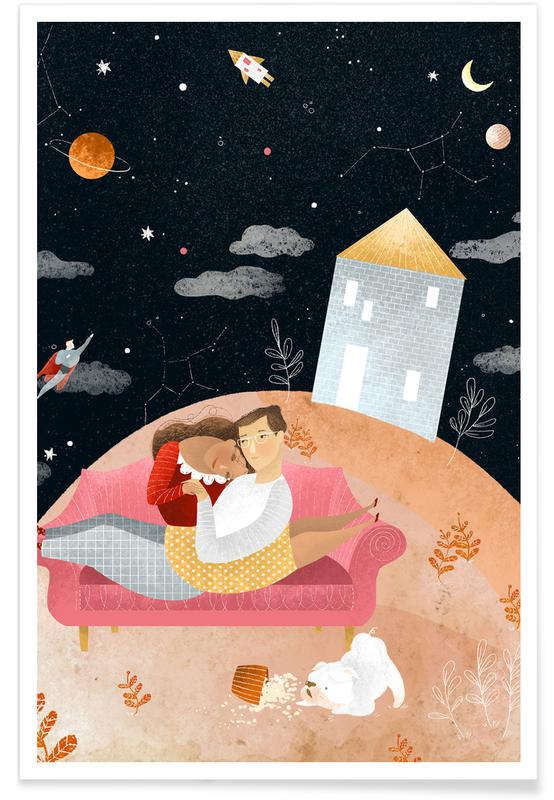 Couples, Nursery & Art for Kids, Dreamy, Love In Space Poster