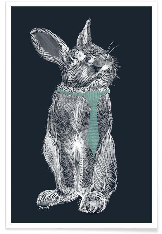 Art pour enfants, Lapins, Fancy Rabbit affiche