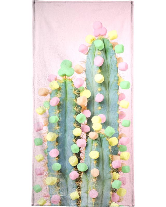 Marshmallow Cactus in Bloom Beach Towel