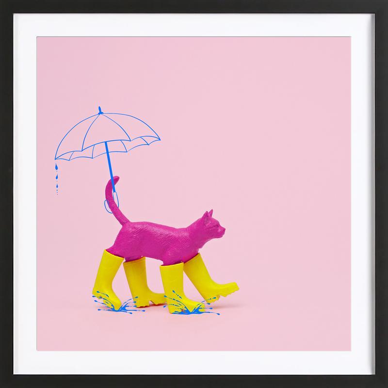 Puss in [Rain] Boots affiche sous cadre en bois