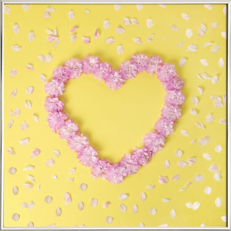 Cherry Blossom Heart Poster in Aluminium Frame