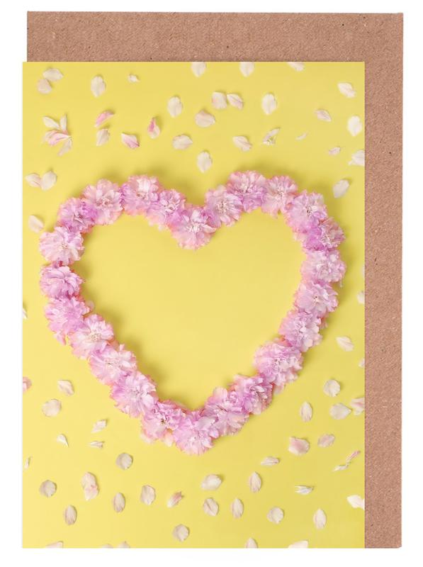 Cherry Blossom Heart Greeting Card Set