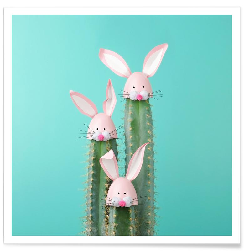 Kunst voor kinderen, Pasen, Konijnen, Cactussen, Bunny Cactus poster