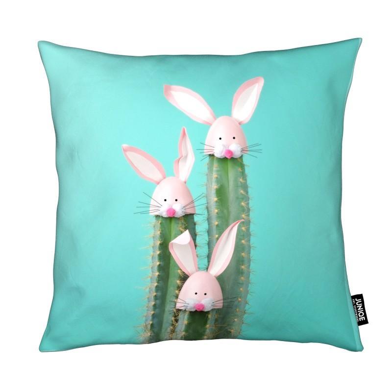 Cactus, Pâques, Art pour enfants, Lapins, Bunny Cactus coussin