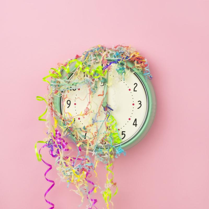 Clock Confetti Canvas Print