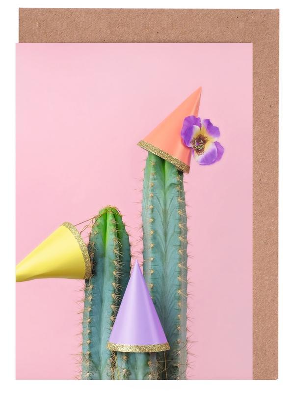 Glückwünsche, Geburtstage, Kinderzimmer & Kunst für Kinder, Kaktus, Cactus Party Hats -Grußkarten-Set