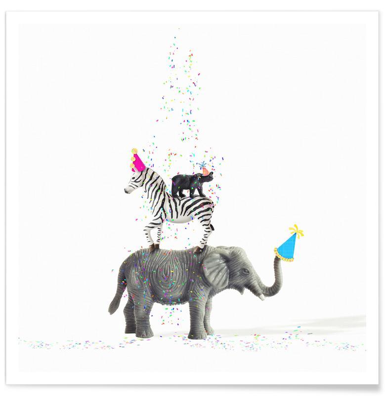 Zèbres, Anniversaires, Éléphants, Party Animals affiche