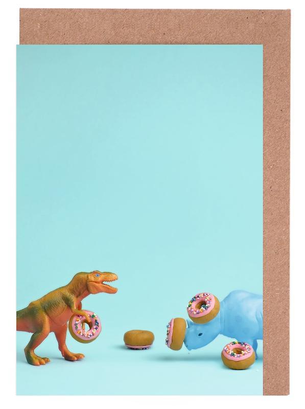 Nashörner, Dinosaurier, Ring Toss -Grußkarten-Set