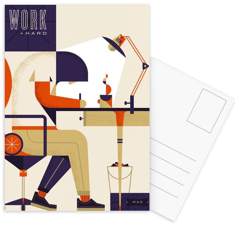 Motivatie, Retro, Work Hard ansichtkaartenset