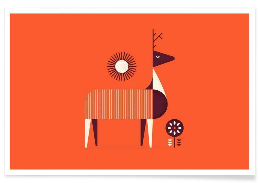 Art pour enfants, Deer affiche