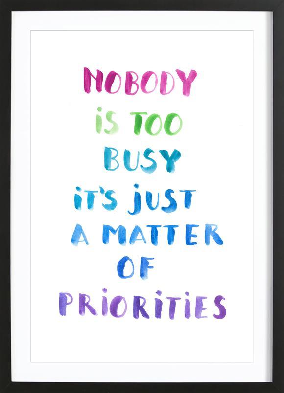 Priorities -Bild mit Holzrahmen