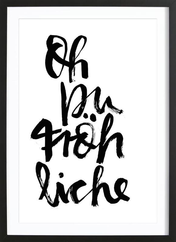 Oh Du Fröhliche -Bild mit Holzrahmen