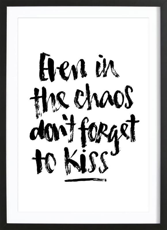 Don't Forget to Kiss -Bild mit Holzrahmen