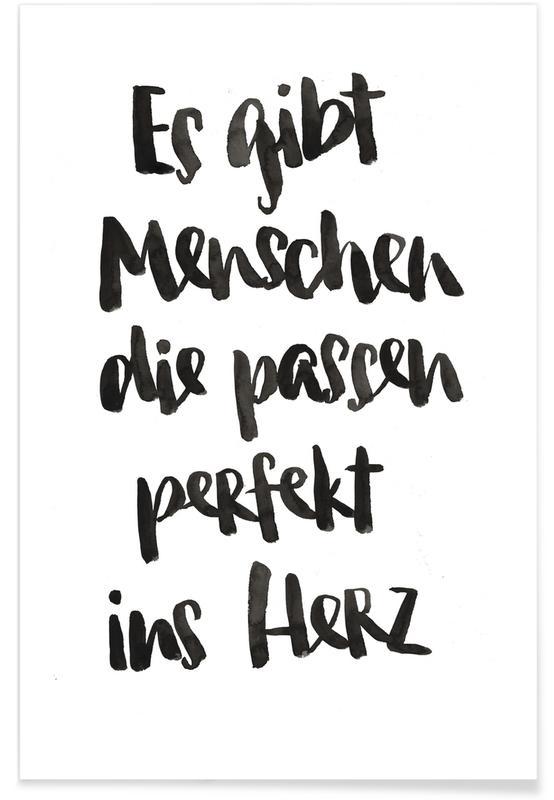 Citations d'amour, Noir & blanc, Citations et slogans, Perfekt ins Herz affiche