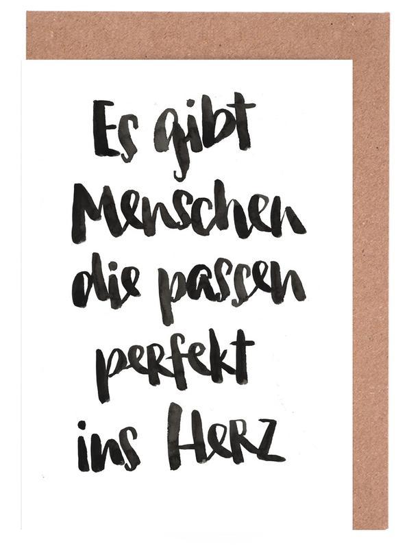 Liebeszitate, Zitate & Slogans, Schwarz & Weiß, Perfekt ins Herz -Grußkarten-Set