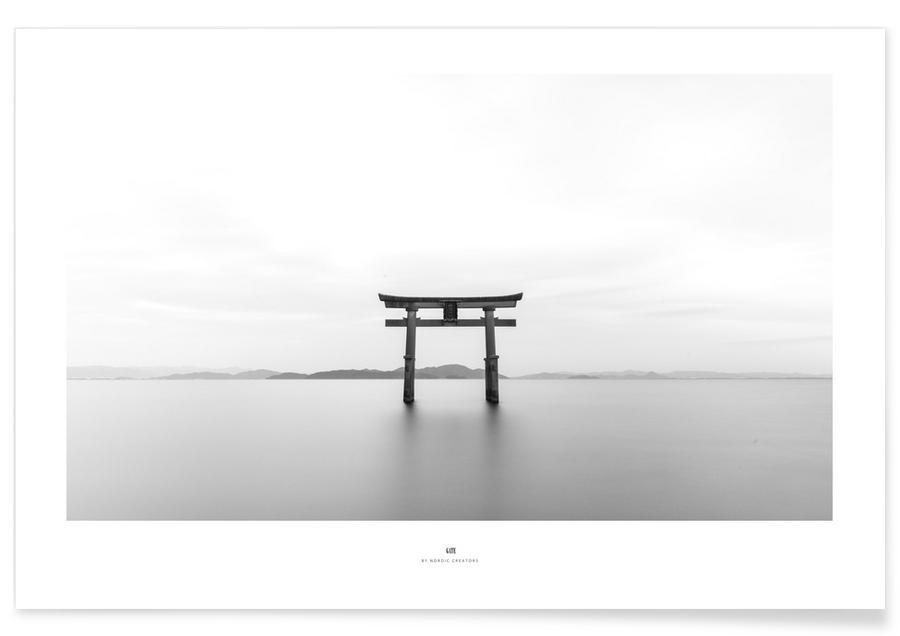 Oceanen, zeeën en meren, Zwart en wit, Architectonische details, Gate poster