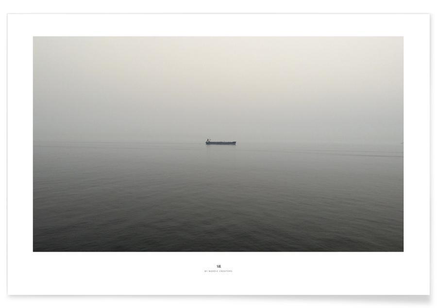 Oceanen, zeeën en meren, Zwart en wit, Boten, Sail poster