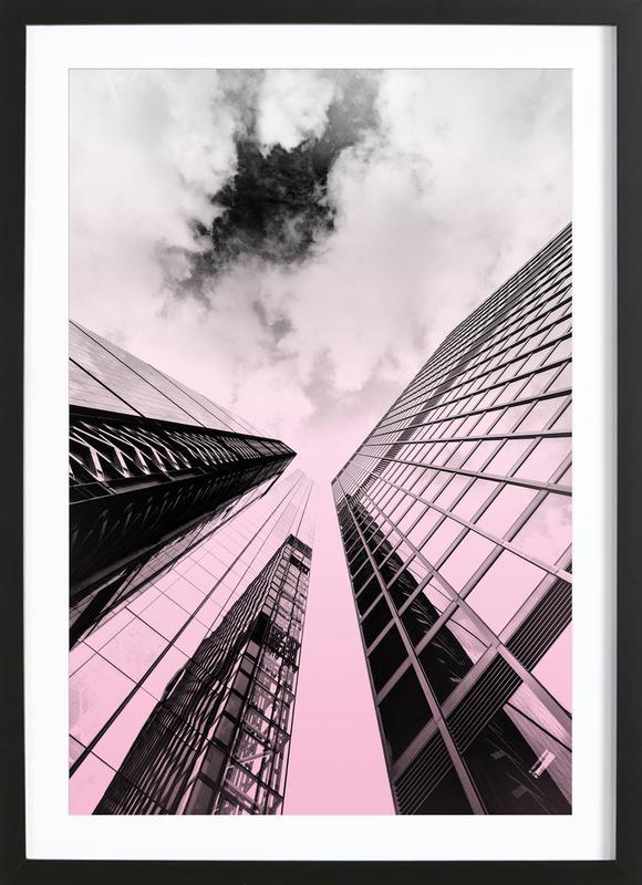 Skyscraper -Bild mit Holzrahmen
