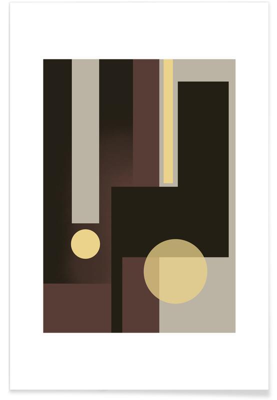 , Grey, Brown & Yellow affiche