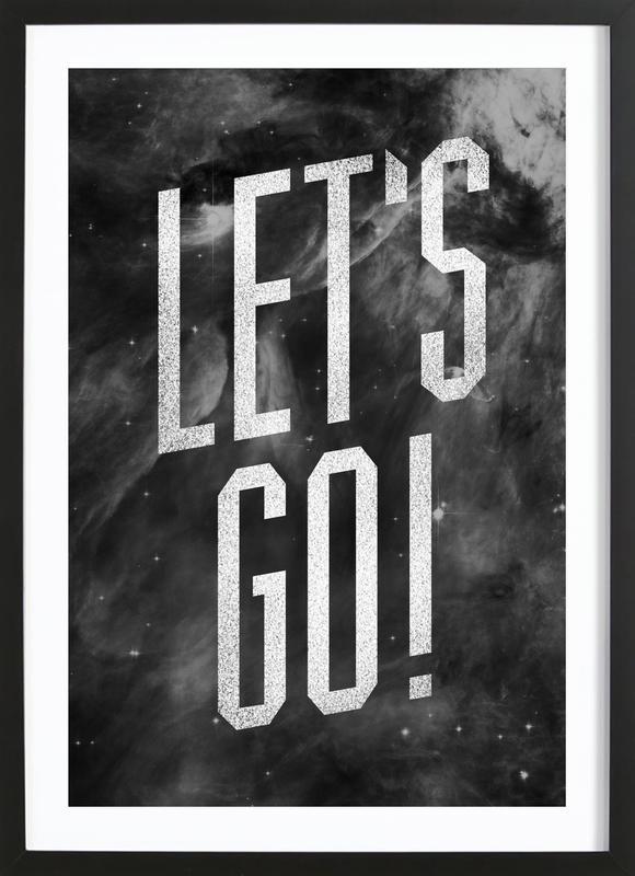 Let's Go affiche sous cadre en bois